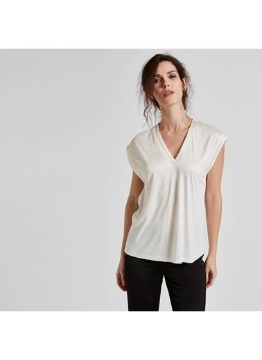 Vekem-Limited Edition V Yaka Kolsuz Bluz Beyaz